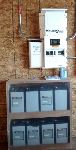 An inverter & battery bank for an off-grid solar project in Virginia